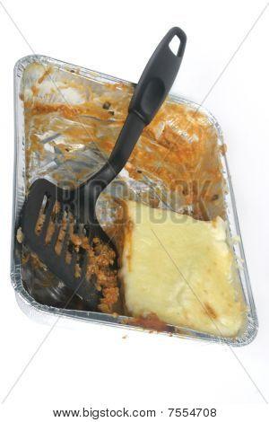 Tv-dinner Lasagna Almost Eaten With Plastic Blade