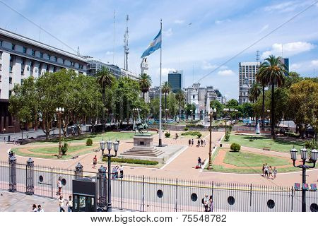 BUENOS AIRES, ARGENTINA - JAN 12: Plaza del Mayo on January 12, 2011 in Argentina, Buenos Aires. Plaza del Mayo is the most important plaza, and a national landmark in Buenos Aires.
