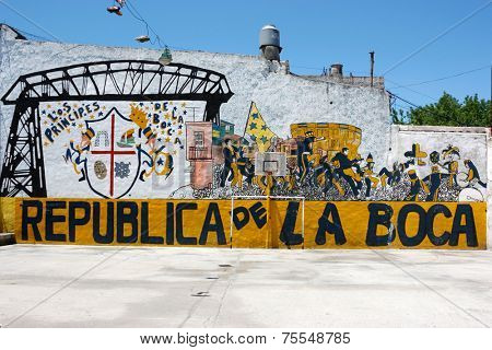 BUENOS AIRES, ARGENTINA - JAN 12: La Boca Republic painted on the street wall on January 12, 2011 in Argentina, Buenos Aires. Boca Juniors is the most famous soccer team in Argentina.