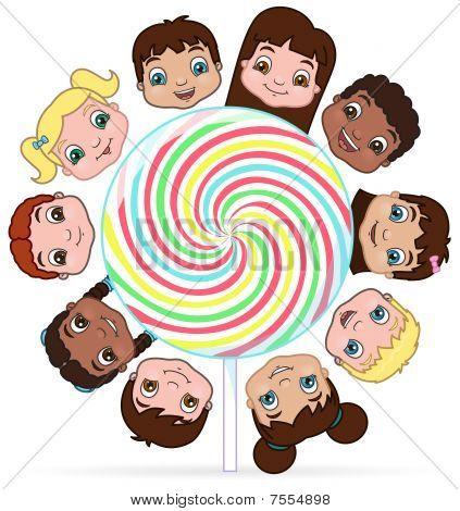 Kids around a lollypop