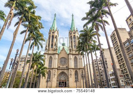 Amazing view of Se Cathedral in Sao Paulo , Brazil