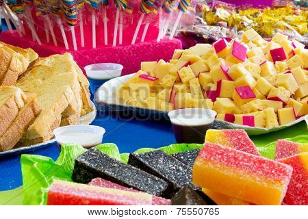 Colorful table with many delicious food ( Prepared for the birthday party)