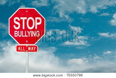 Stop Bullying creative sign on a sky background