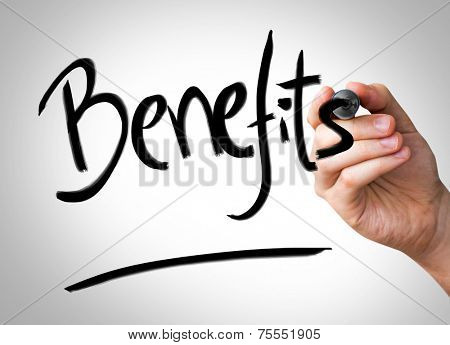 Benefits Hand writing with a black mark on a transparent board