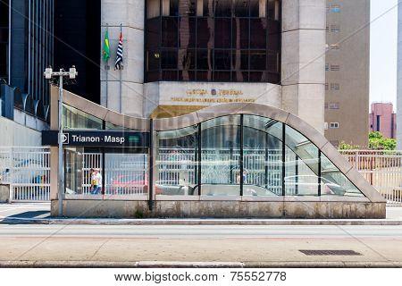 SAO PAULO, BRAZIL - NOV 10: Trianon Masp Station on Paulista Avenue on November 10, 2013, in Sao Paulo, Brazil. Paulista is one of the most important avenues in Sao Paulo with 2.8 kilometer.