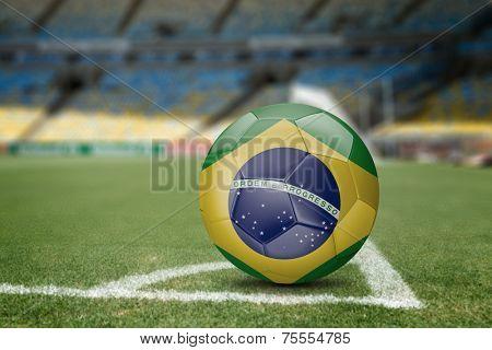 Brazil soccer ball on the soccer field
