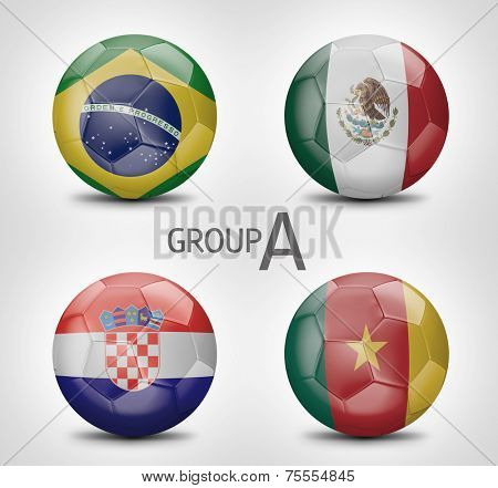 Group A - Brazil, Mexico, Croacia, Cameroon