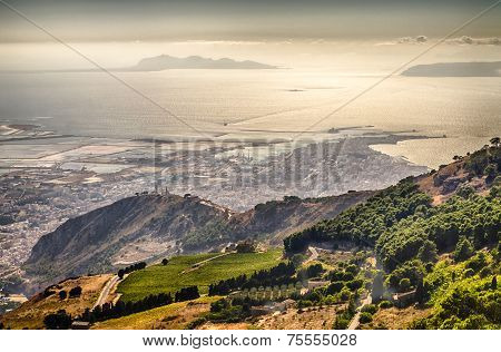 Panoramic View over the city of Trapani and Aegadian Islands from Erice Sicily poster
