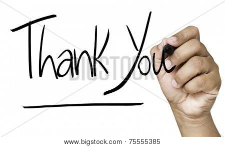 Thank You hand writing with black mark on a transparent board