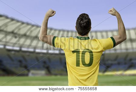 Brazilian man celebrates on the stadium