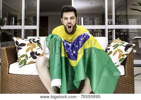 Brazilian supporter celebrates at home