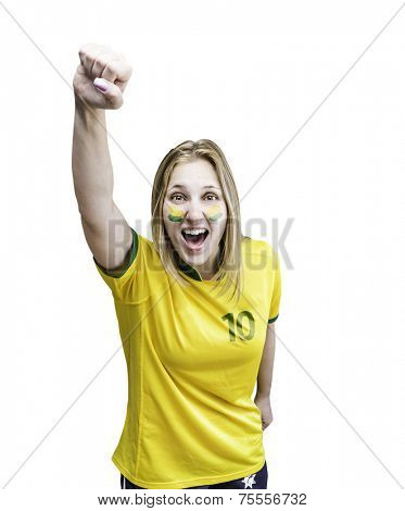 Brazilian woman celebrates on white background with her face painted