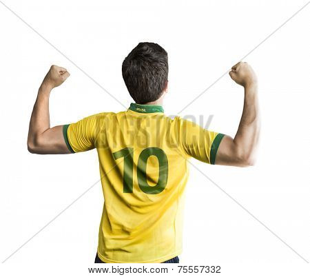 Brazilian player celebrates on white background