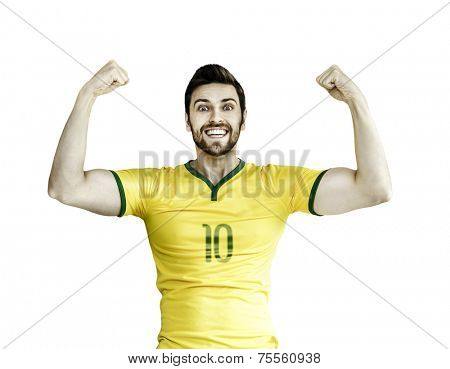 Brazilian soccer player celebrates on white background