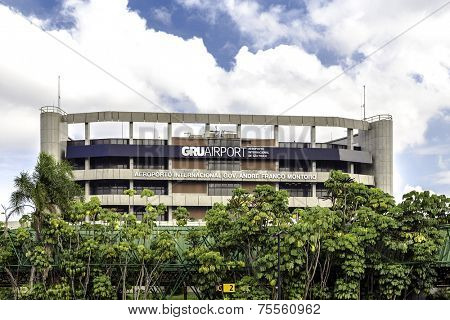 SAO PAULO, BRAZIL - CIRCA MARCH 2014 - The exterior of the international Guarulhos Airport in Sao Paulo, Brazil