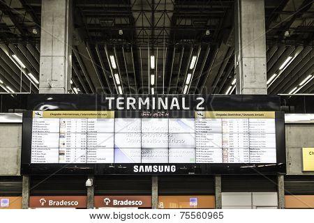 SAO PAULO, BRAZIL - CIRCA MARCH 2014 - Big Termianl at the International Guarulhos Airport in Sao Paulo, Brazil