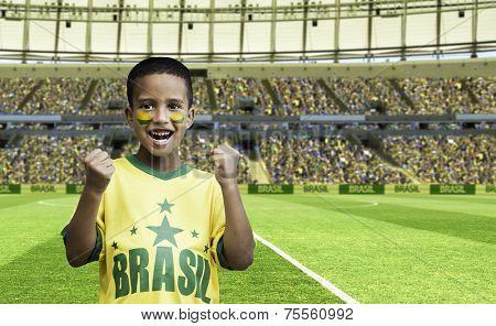 Brazilian fan boy celebrates on the stadium