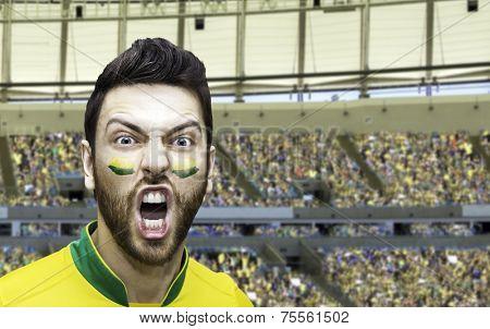 Brazilian fan celebrates on the stadium