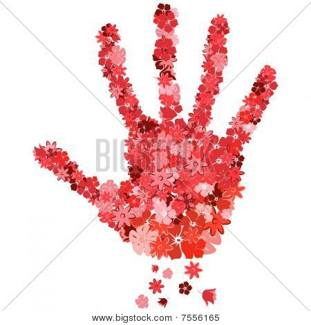 The print of a hand  from the red flowers