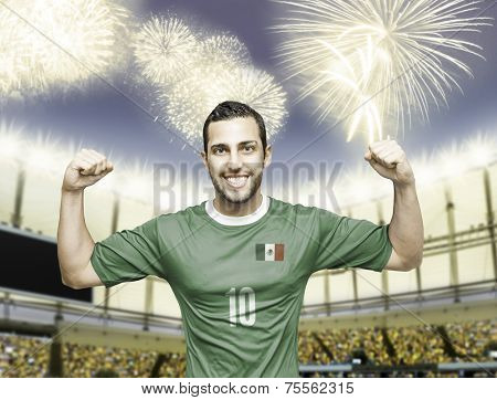 Mexican soccer player celebrates on the stadium