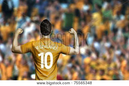 Dutchman soccer player celebrates in the stadium