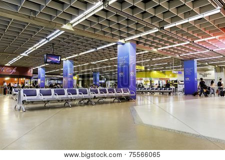 SAO PAULO, BRAZIL - CIRCA JUN 2014: Departure lounge inside Gru Airport in Sao Paulo, Brazil. Gru Airport is located in Sao Paulo and is the main airport in Brazil.