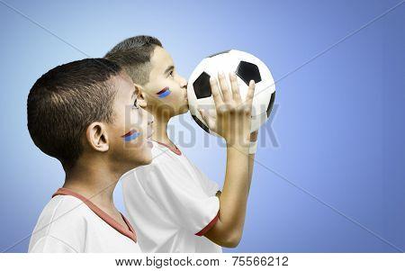 American fan boys on blue background