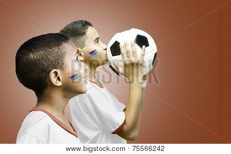 American fan boys on red background
