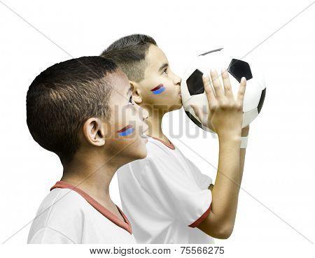 American fan boys on white background