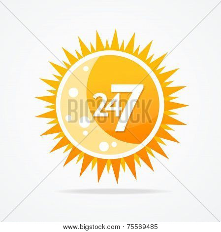 Sun vector icon. 24 hours and 7 days open sign.
