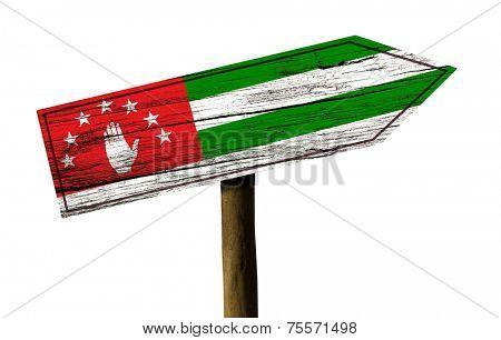 Abkhazia wooden sign isolated on white background