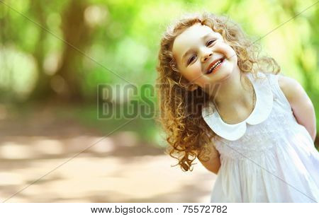Cute Baby Girl Shone With Happiness, Curly Hair, Charming Smile, Sunny Summer Portrait