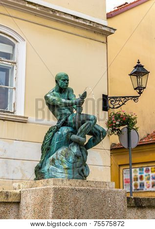 Fisherman With Snake statue and fountain in Zagreb Croatia poster
