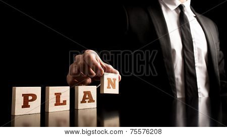 Businessman In A Simple Business Plan Concept