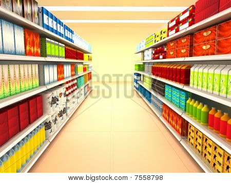 Supermarket. 3d rendered image