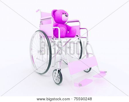 child handicap concept: brown teddy bear in wheelchair