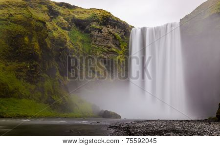 Skogafoss Waterfall In Souther Part Of Iceland