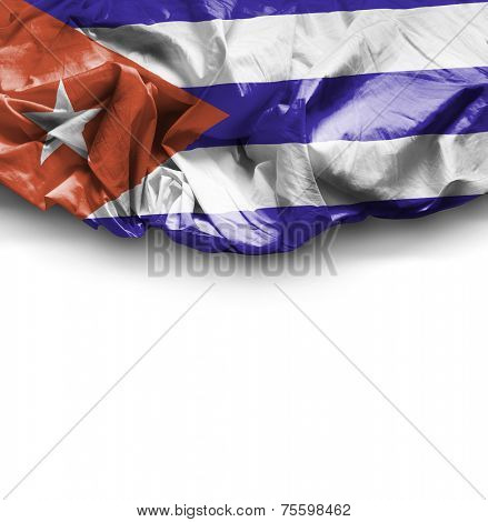 Cuba waving flag on white background