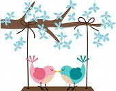 Image representing a two birds in love on a swing, isolated on white, vector design. poster