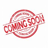 Coming soon grunge rubber stamp on white, vector illustration poster