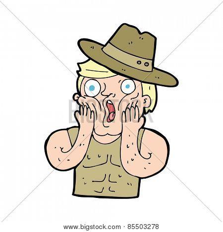 cartoon shocked outback australian man