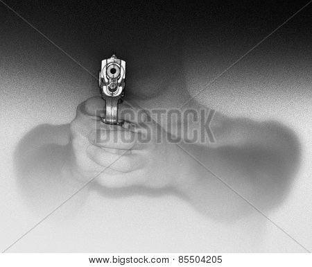 Young Man Pointing Hand Gun