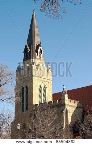 Neogothic Church Spire And Belltower