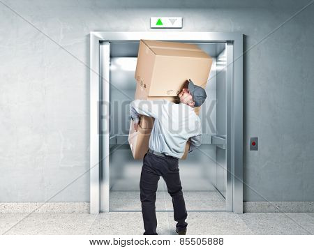 delivery man and elevator background poster