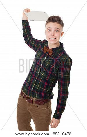 Handsome  Hipster Guy Throwing Out Tablet
