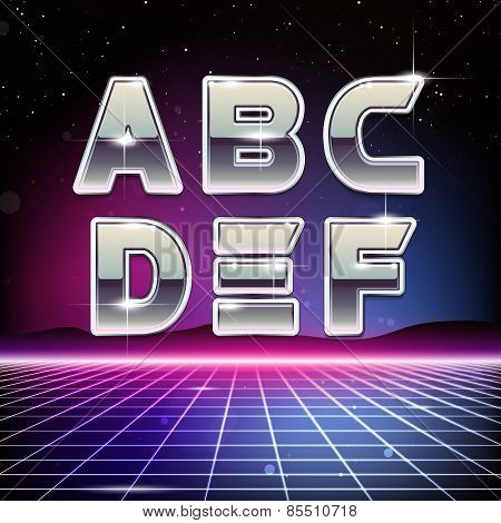 80s Retro Futurism Sci-Fi Font on futuristic background poster