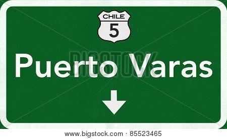 Purto Varas Chile Highway Road Sign