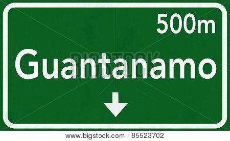 Guantanamo Cuba Highway Road Sign