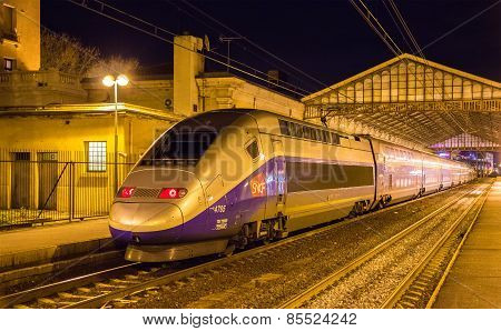 Beziers, France - January 05: Sncf Tgv Duplex Train On Beziers Station On January 5, 2014. Tgv Train