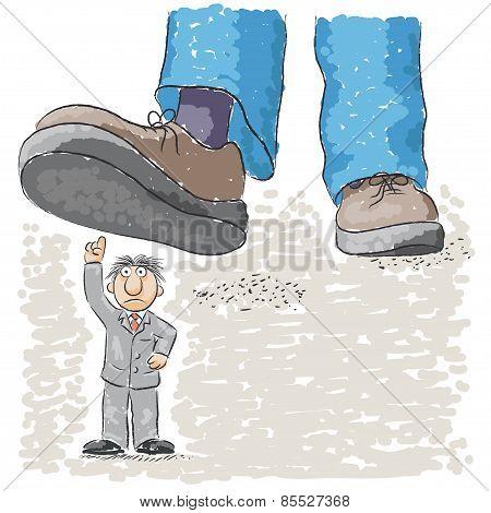 foot tramples man